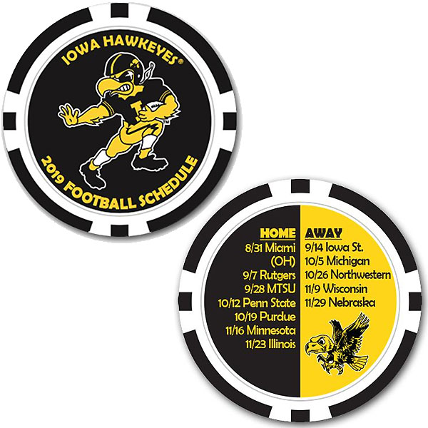 Iowa Hawkeyes 2019 Football Schedule Poker Chip