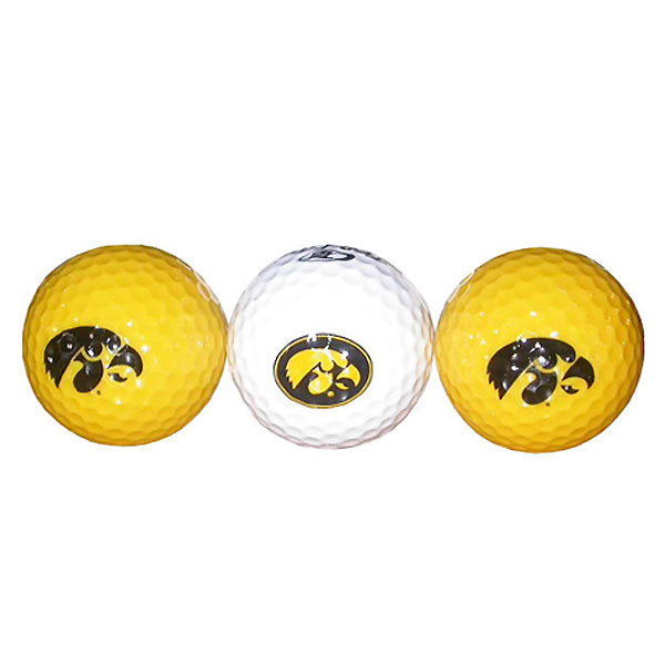 Iowa Hawkeyes Logo Gold & White 3-Pack Golf Balls