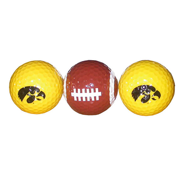 Iowa Hawkeyes Gold w/ Football 3-Pack Golf Balls