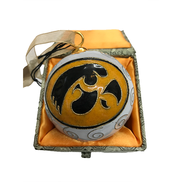 Iowa Hawkeyes White Ornament