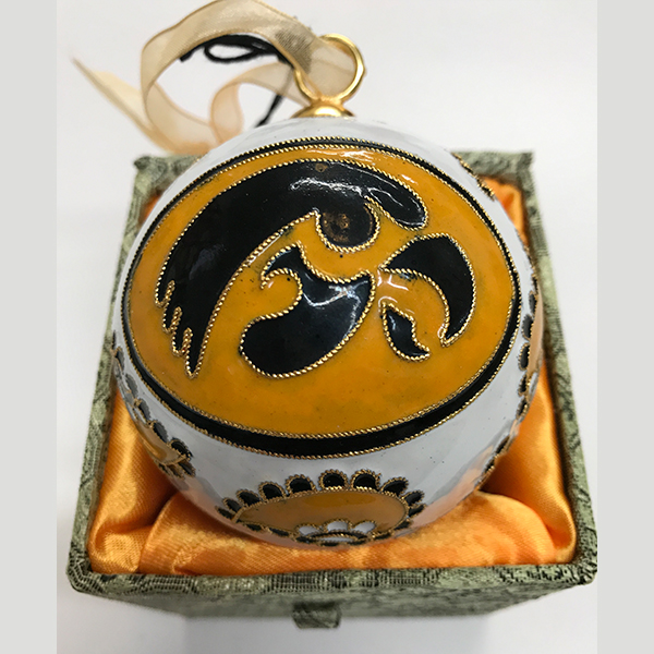 Iowa Hawkeyes White and Gold Ornament