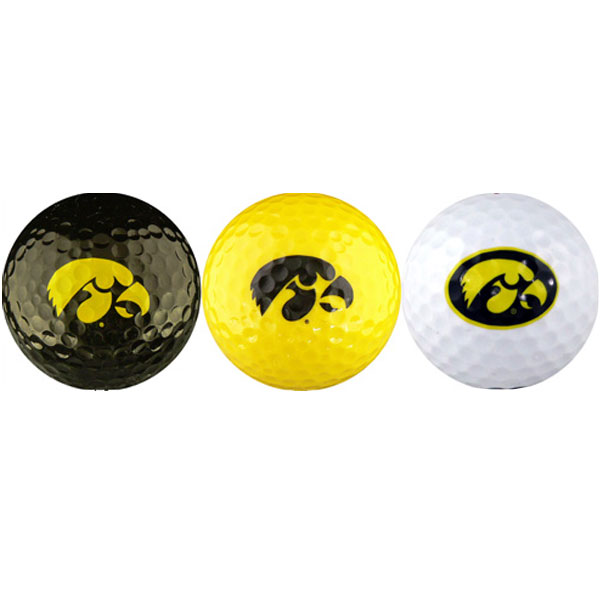 Iowa Hawkeyes Logo Black/Gold/White 3-Pack Balls
