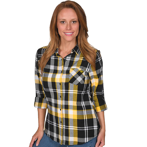 Iowa Hawkeyes Women's Boyfriend Plaid Shirt