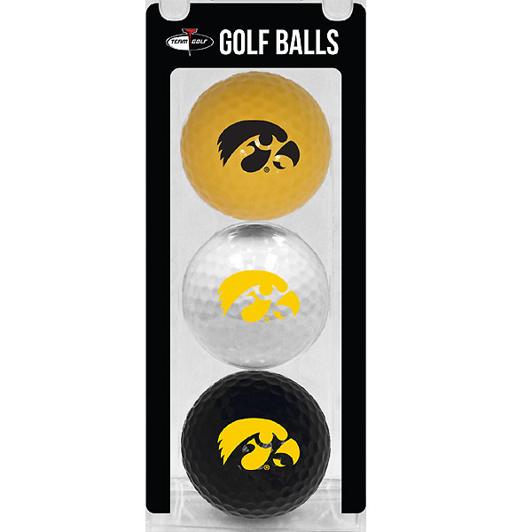 Iowa Hawkeyes Logo Black/Gold/White 3-Pack Golf Balls