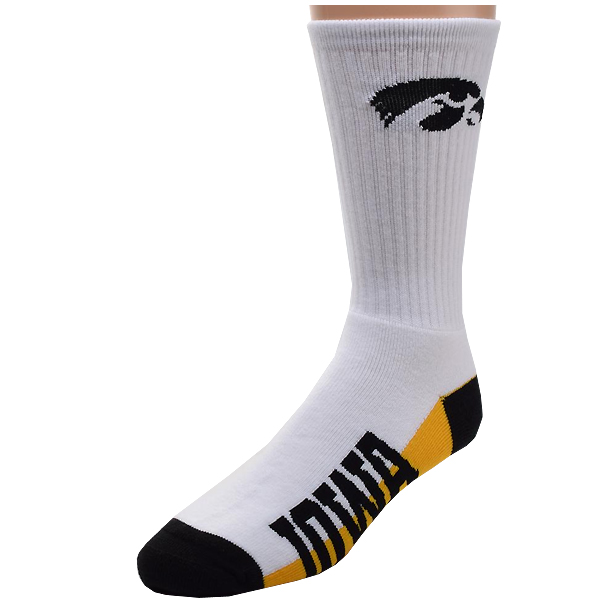 Iowa Hawkeyes White Crew Socks