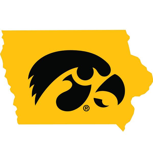 Iowa Hawkeyes Logo State Map Decal