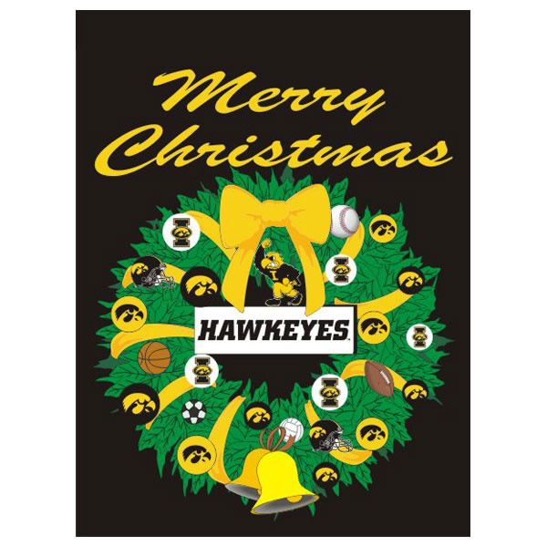 Iowa Hawkeyes Christmas Wreath Flag