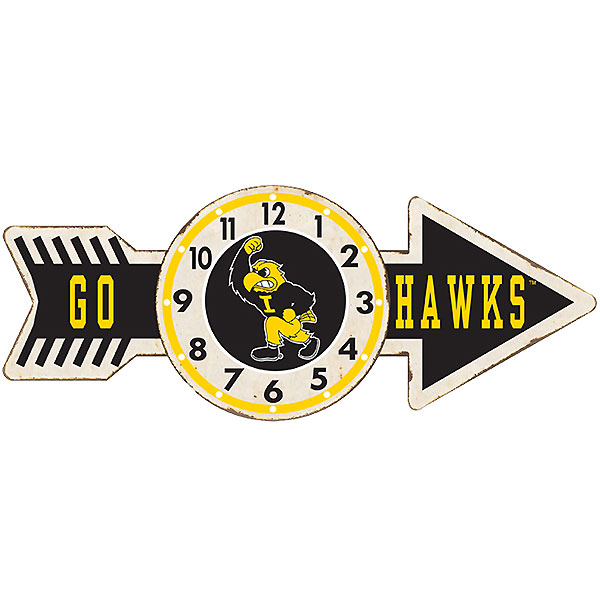 Iowa Hawkeyes Arrow Clock