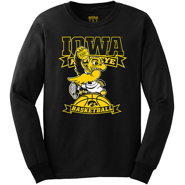 Iowa Hawkeyes Basketball Flying Herky Tee - Long Sleeve