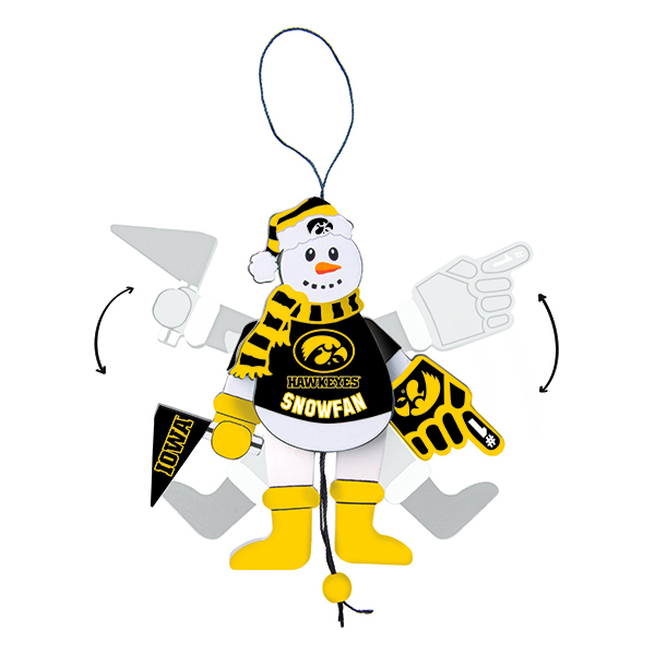 Iowa Hawkeyes Cheering Snowman Ornament