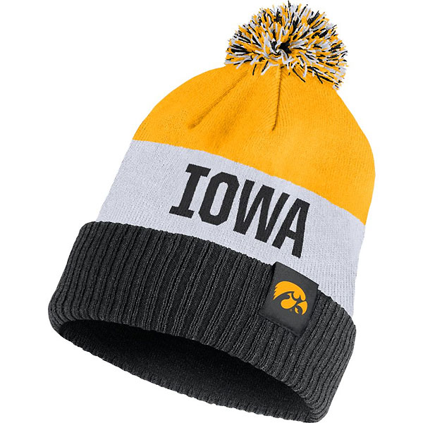 Iowa Hawkeyes Stiped Beanie Stocking Hat