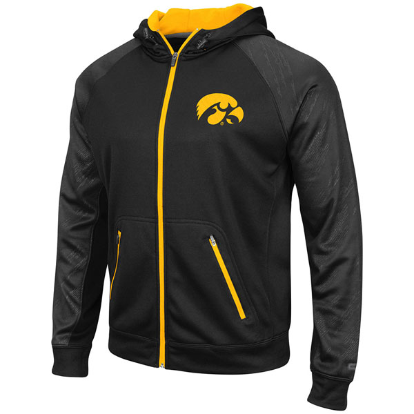 Iowa Hawkeyes Sleet Embossed Full Zip Hoodie (Big)
