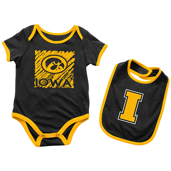 Iowa Hawkeyes Infant Look At Onsie Bib Set