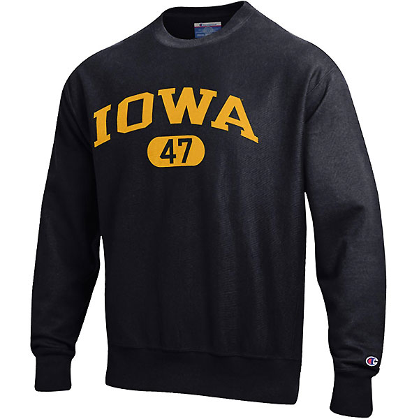 Iowa Hawkeyes Reverse Weave Black Crew Sweat