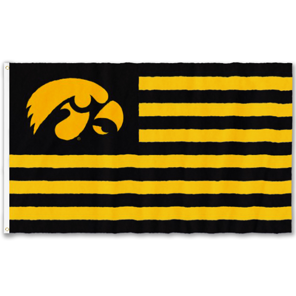 Iowa Hawkeyes Striped Applique Flag - Grommets