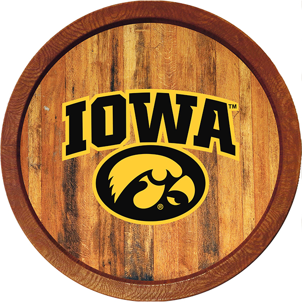 Iowa Hawkeyes Tigerhawk Logo Barrel Sign