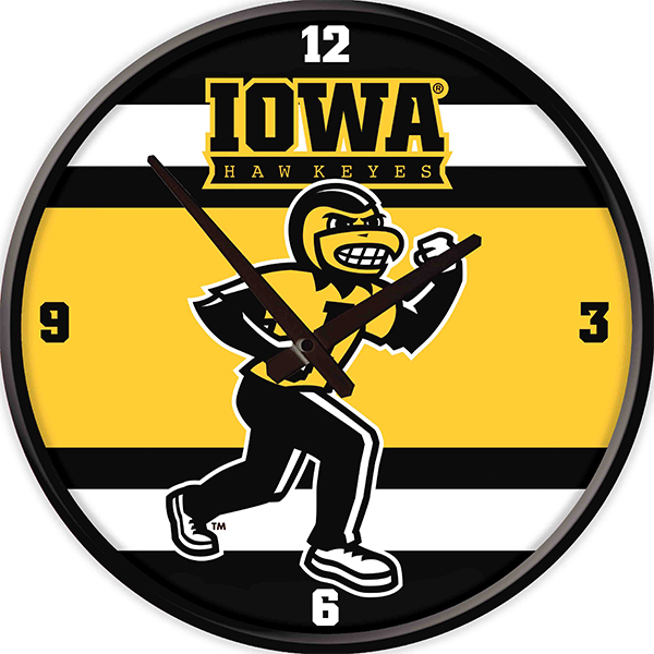 Iowa Hawkeyes Mascot Herky Stripe Clock