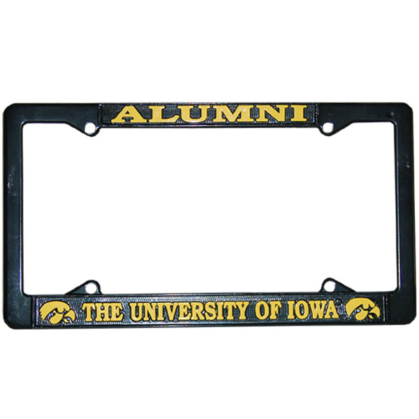 Iowa Hawkeyes Alumni Black License Plate Frame