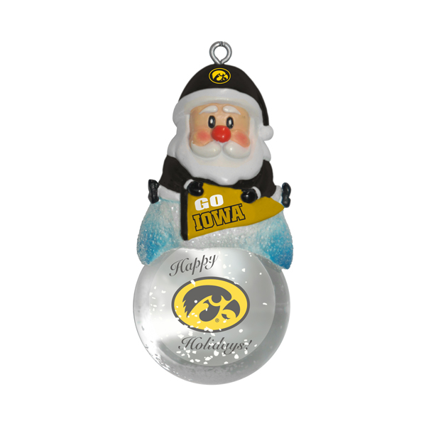 Iowa Hawkeyes Santa Snowglobe Ornament
