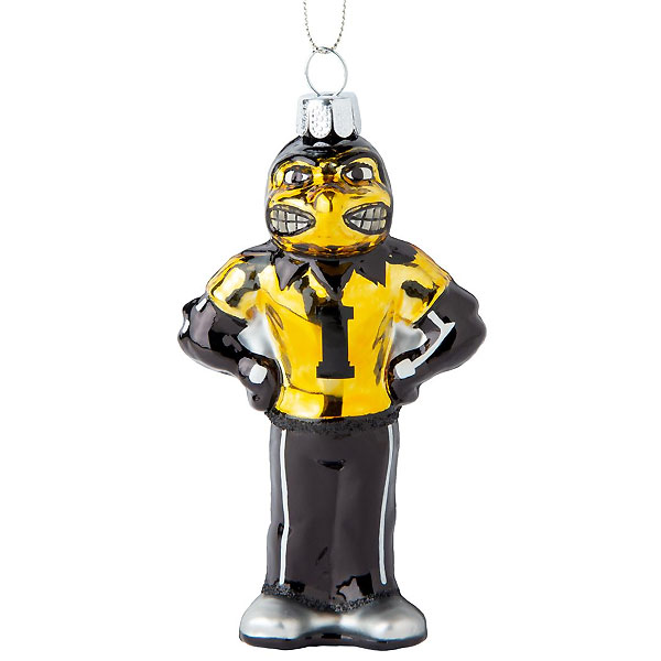 Iowa Hawkeyes Blown Glass Herky Ornament