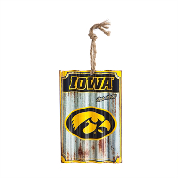 Iowa Hawkeyes Metal Sign Ornament