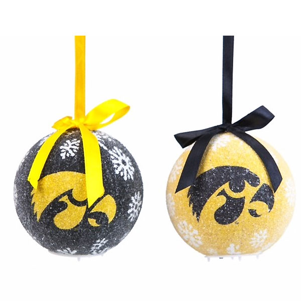 Iowa Hawkeyes Led Logo Ornament Set