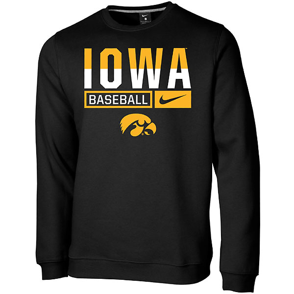 Iowa Hawkeyes Baseball Club Crew Sweatshirt