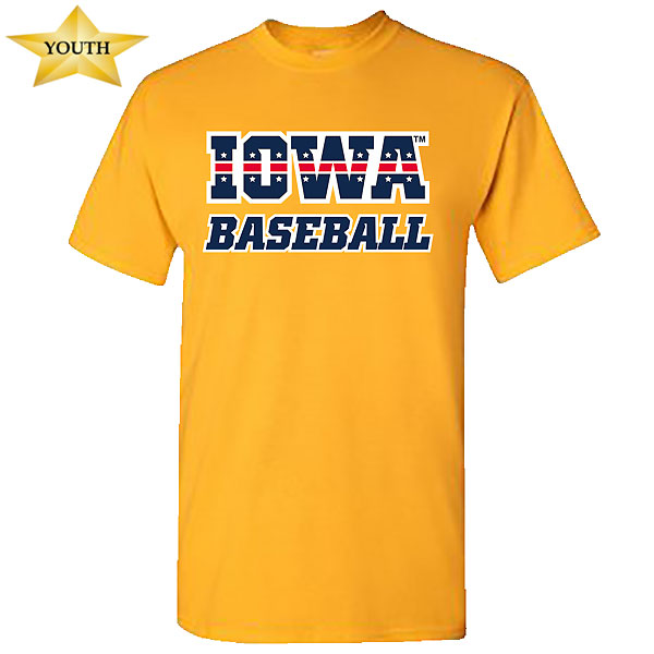 Iowa Hawkeyes Youth Baseball Patriotic Tee