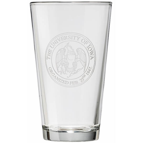 Iowa Hawkeyes Seal Pint Glass