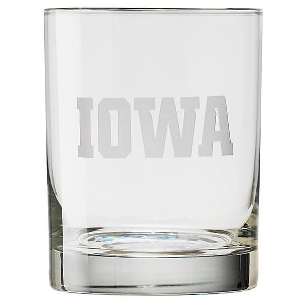 Iowa Hawkeyes IOWA Rocks Glass