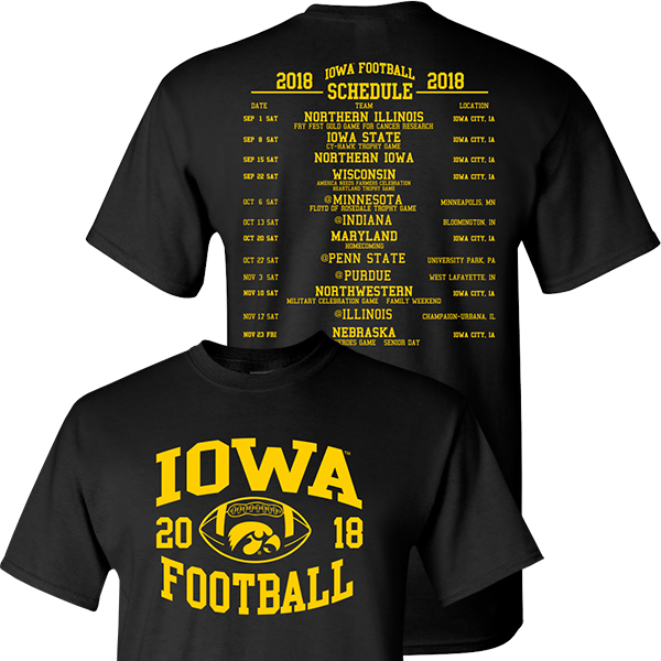 Iowa Hawkeyes 2018 Football Schedule Tee