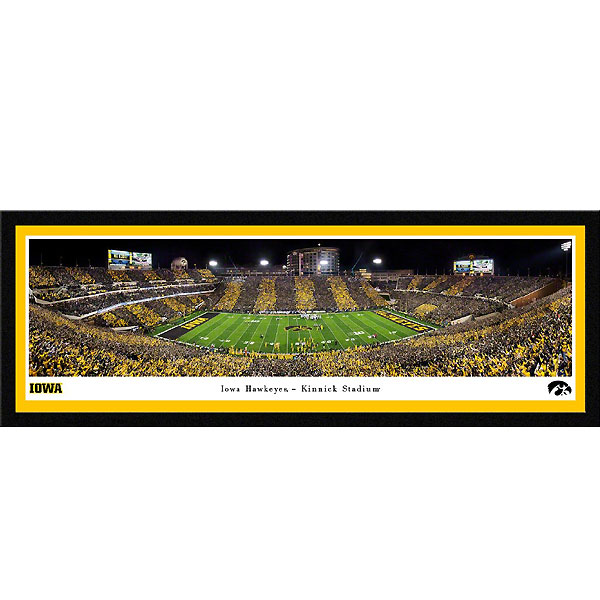 Iowa Hawkeyes 2019 Panoramic Picture - Kinnick Stadium at Night - Matted
