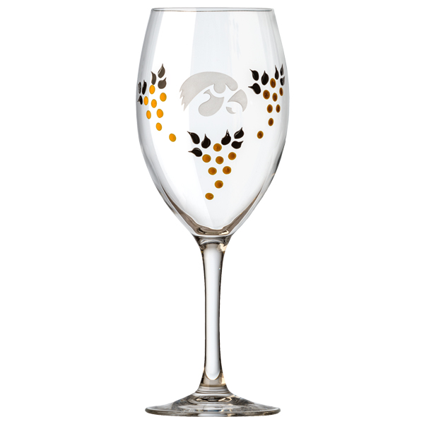 Iowa Hawkeyes Painted Wine Glass