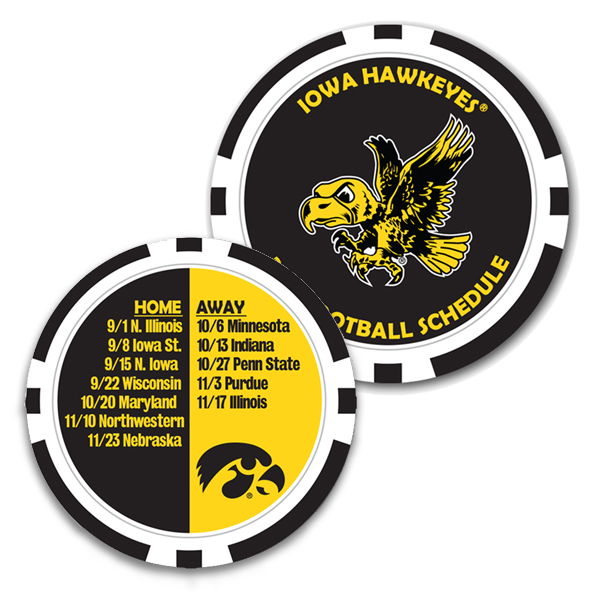 Iowa Hawkeyes 2018 Football Schedule Poker Chip
