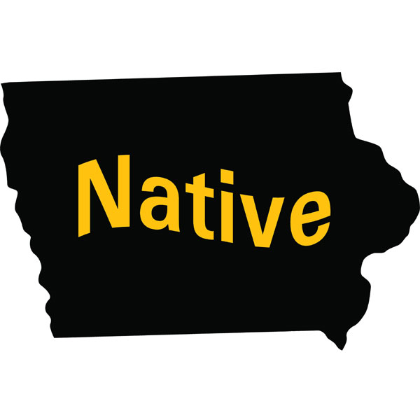 Iowa Hawkeyes Native State Map Decal