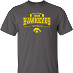 Iowa Hawkeye FB Outlined Arch Tee - Grey