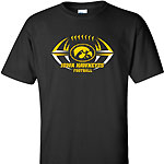 Iowa Hawkeye Pointed Football Tee - Black
