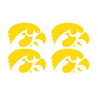 Iowa Hawkeyes Gold Decal-Set of 4