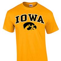 Iowa Hawkeyes Arch Logo Tee-Gold