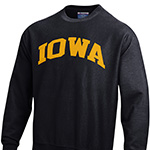 Iowa Hawkeyes Weave Crew Sweatshirt-Black