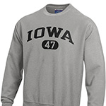Iowa Hawkeyes Weave Crew Sweatshirt-Grey