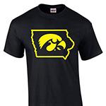 Iowa Hawkeyes State Logo Tee-Black