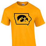 Iowa Hawkeyes State Logo Tee-Gold