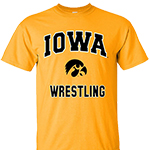 Iowa Hawkeyes Wrestling Hawk Head Tee-Gold