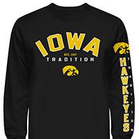 Iowa Hawkeyes Tradition Long Sleeve Tee-Black