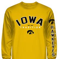 Iowa Hawkeyes Tradition Long Sleeve Tee-Gold