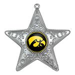 Iowa Hawkeyes Silver Star Ornament