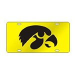 Iowa Hawkeyes Mirror Auto Tag-Gold