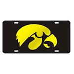 Iowa Hawkeyes Mirror Auto Tag-Black