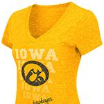 Iowa Hawkeyes Women's Delorean Tee-Gold